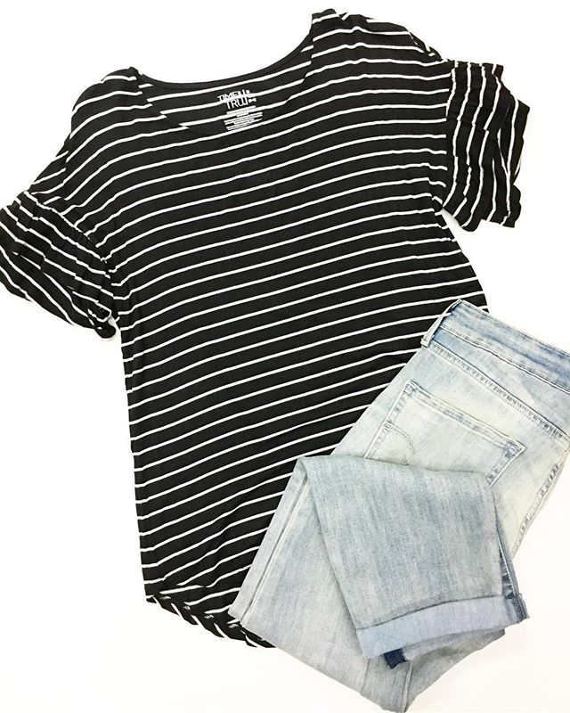 b8cb40c70810 I have a thing for stripes and ruffles so I couldn t resist this pretty tee!  Found in-store and online for  9.94 paired with mid rise Levi s for  19.94  ...