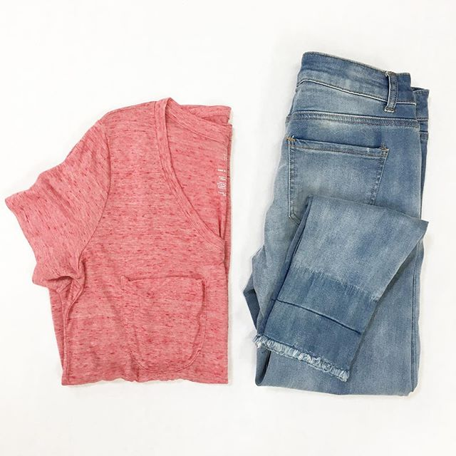 4aab074523a9 It s a jeans and t-shirt kind of day! Loving the frayed hem on these  skinnies and this tee is so comfy! Jeans are  18.86 and the tee is  8.88  and comes in ...