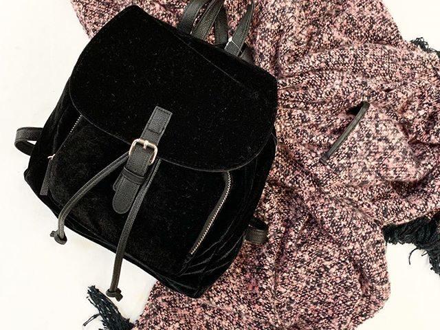 Mini Velvet Backpack and Boucle Ruana