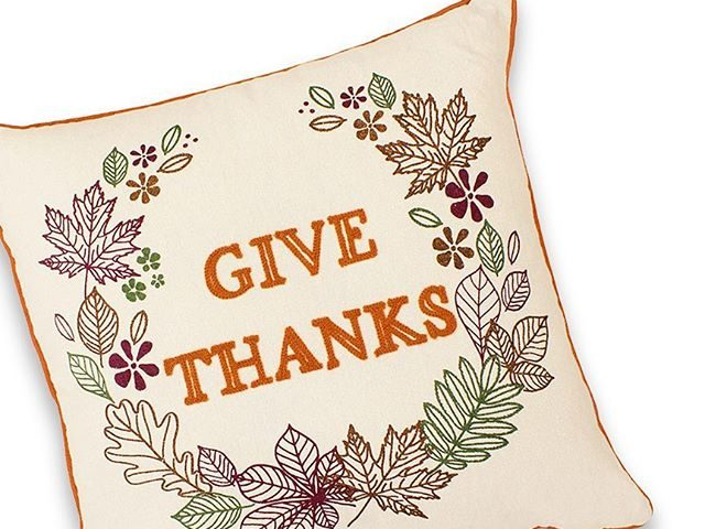 Give Thanks Embroidered Thanksgiving Pillow