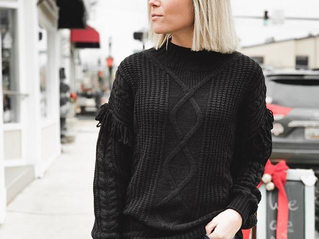 Time and Tru Mock Neck Fringe Sweater