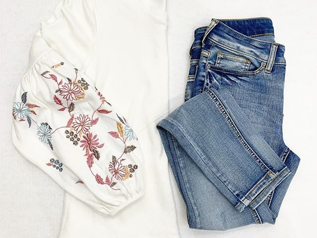 Time and Tru Embroidered Balloon Sleeve Top and Core Skinny Jean