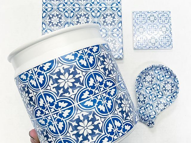 Mainstays Blue Tile Kitchen Accessories