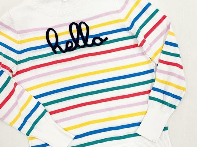 """Time and Tru Striped """"Hello"""" Sweater"""