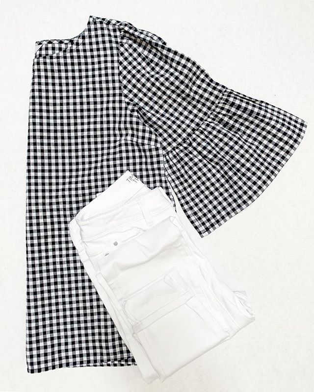 e2067fa41608c I found the cutest gingham top in-store for just $11.88! Paired with white  high rise ankle jeggings for $17.84! Be sure to check my stories for a try  on and ...