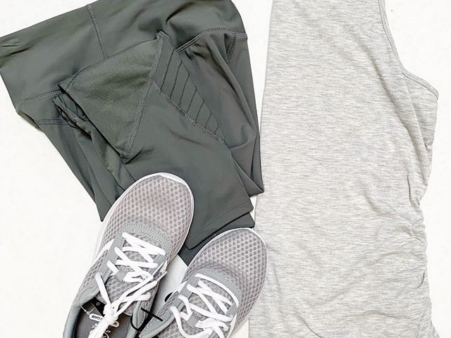 Avia Leggings, Athletic Works Ruched Tank, and Mesh Trainers