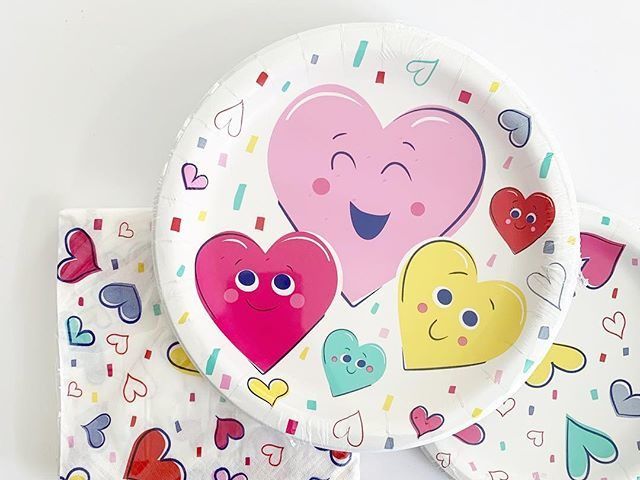 Valentine's Day Heart Plates and Napkins