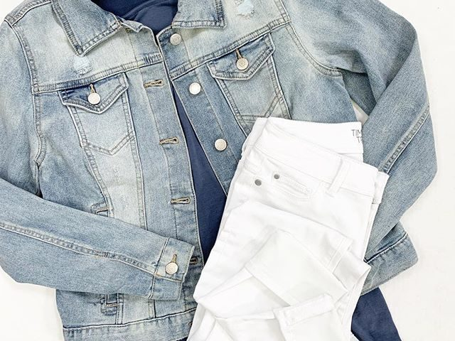 Time and Tru Denim Jacket, Ruffle Sleeve Tee, and Jeggings
