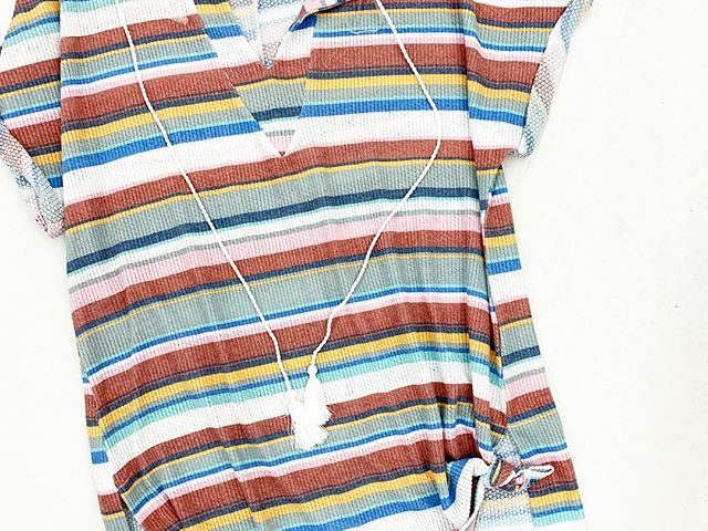 Time and Tru Retro Stripe Knotted Cover-up
