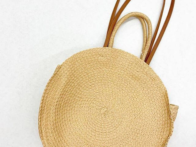 Time and Tru Straw Circle Tote
