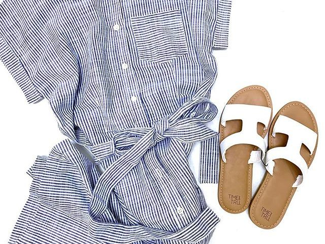 Time and Tru Belted Midi Shirt Dress and H Band Sandals
