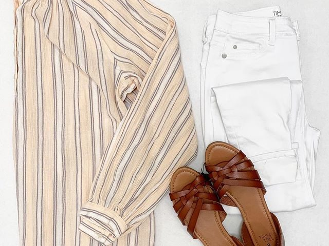 Time and Tru Striped Popover, Jeggings, and Huarache Sandals