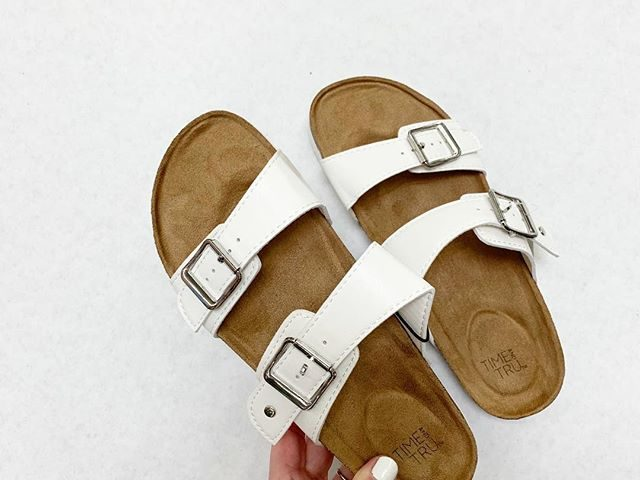Time and Tru White Footbed Slide