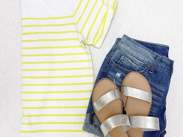 Time and Tru Boatneck Tee, Denim Shorts, and Silver Slides