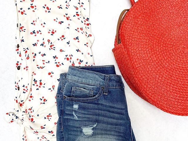 NoBo Floral Blouse, Time and Tru Denim Shorts, and Straw Circle Tote