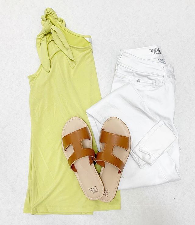 ae0c389ba65be Tie shoulder tank $10.88 • White denim jeggings $17.84 • H Band sandal  $7.98 • Links are below and try on is in my stories • (Psst..