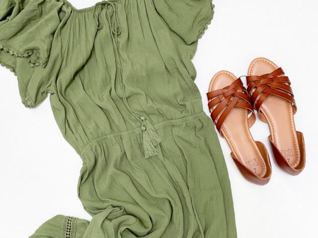 Time and Tru Hi Lo Peasant Dress and Huarache Sandals