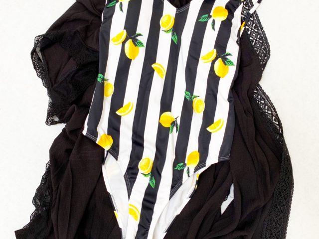 No Boundaries Lemon Stripe Swimsuit and Time and Tru Kimono