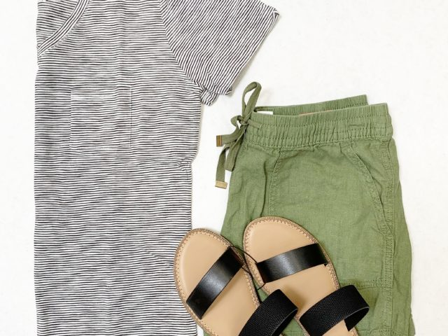 Time and Tru V-Neck Tee, Linen Shorts, and Two Band Slides