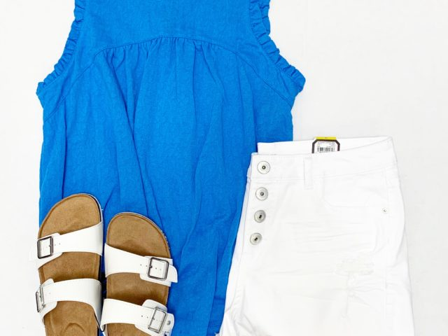 Time and Tru Ruffle Tank and No Boundaries High Rise Denim Short and Birkenstock Dupes