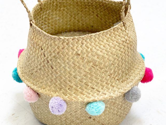 Your Zone Natural Seagrass Pop Up Basket with Colored Poms