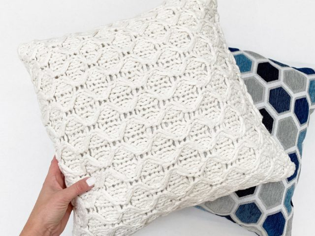 Better Homes and Gardens Sweater Knit Pillow and Hexagon Pillow