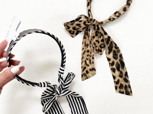 Time and Tru Striped and Cheetah Print Headband with Tail