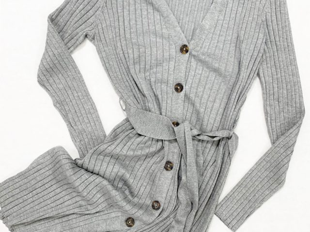 Time and Tru Front Rib Duster Cardigan with Belt