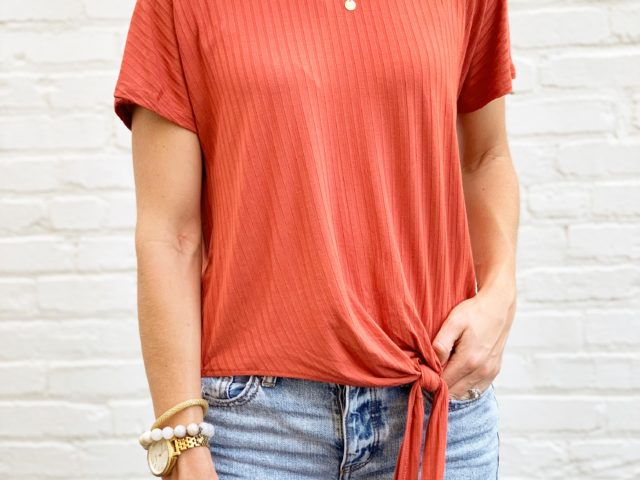 Time and Tru Front Tie Rib Tee