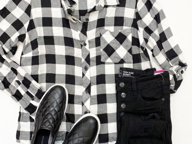 Time and Tru Plaid Button Front Top, Quilted Slip-Ons, and No Boundaries Destructed Skinny Jeans