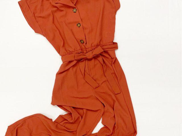 No Boundaries Flange Button Front Tie Waist Jumpsuit