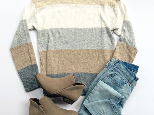 Time and Tru Supersoft Pullover Sweater, Sofia Vergara High Waist Ankle Jean, and Opp Bootie