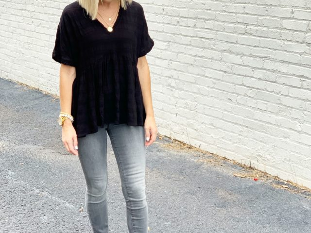 Time and Tru Ruffle Edge Top, Sofia Vergara Ankle Jeans, and Time and Tru Mule