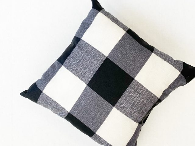Mainstays Black and White Plaid Pillow