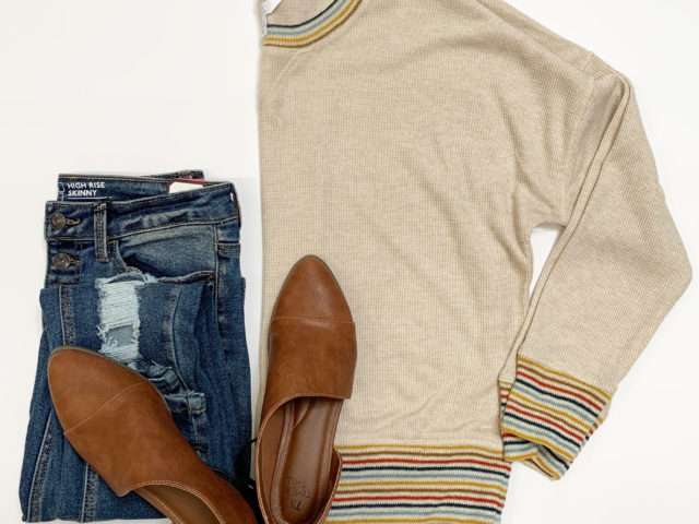 Time and Tru Waffle Knit Sweatshirt and No Boundaries Jeans