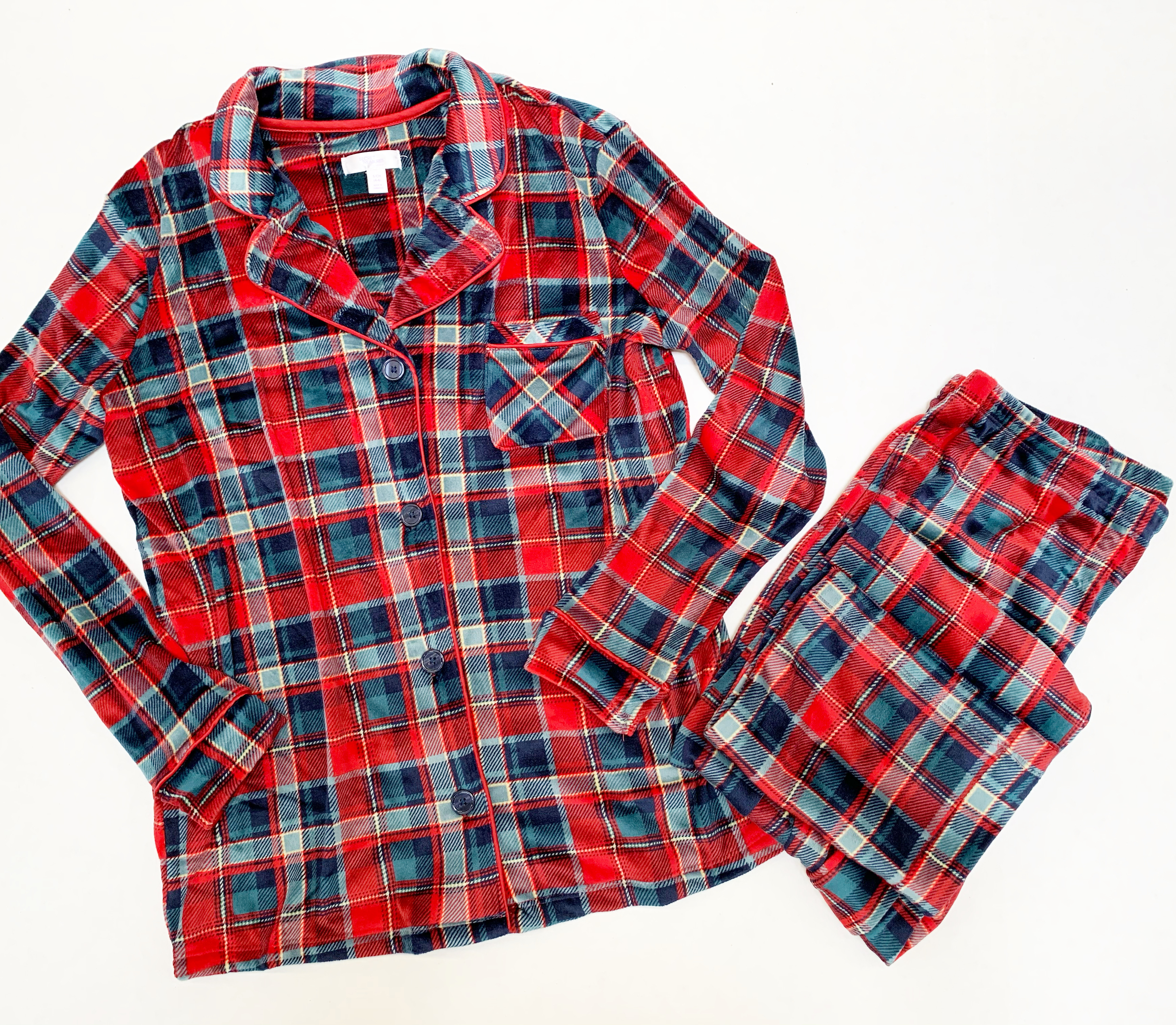 traditional red and green plaid pajama set