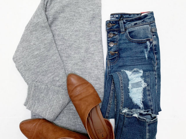 Time and Tru Mock Neck Sweater and NoBo Jeans
