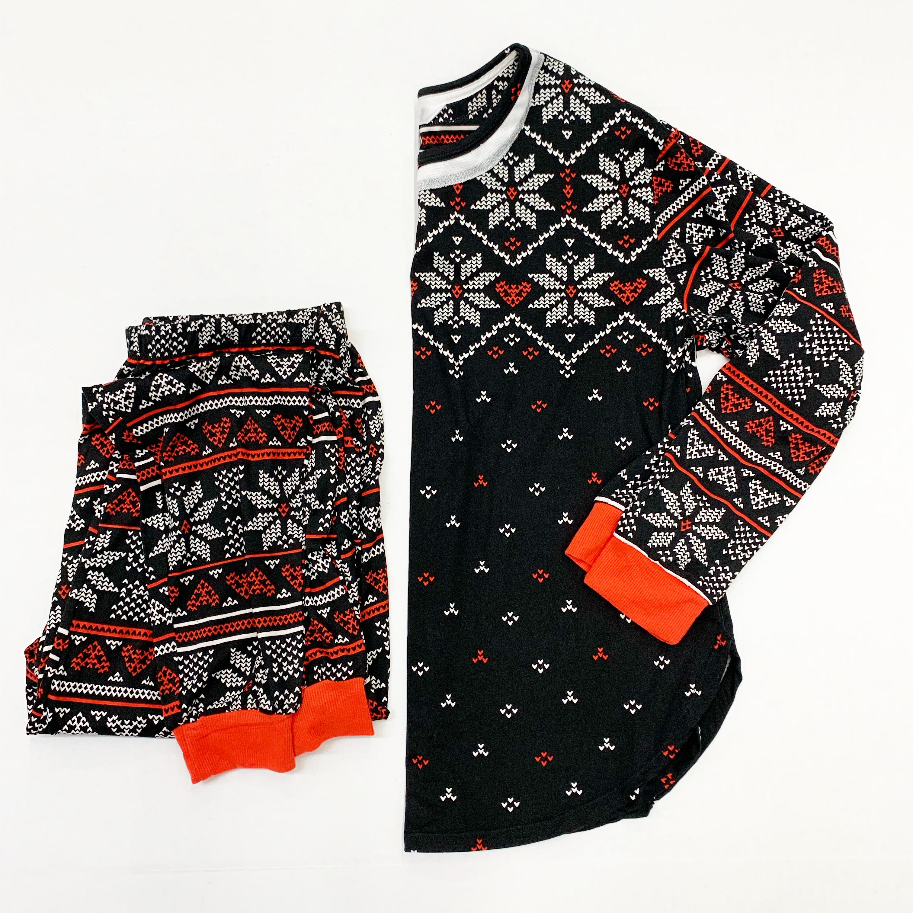 black and red women's fair isle pajamas