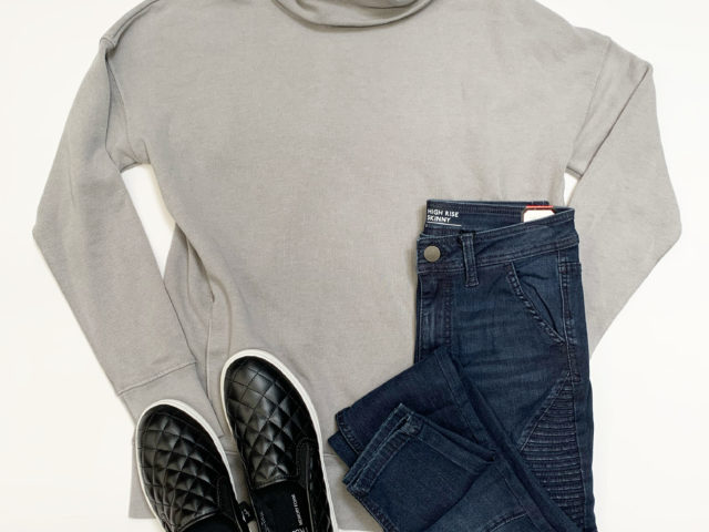 Cowl Neck Tunic Sweatshirt and Moto Jeans