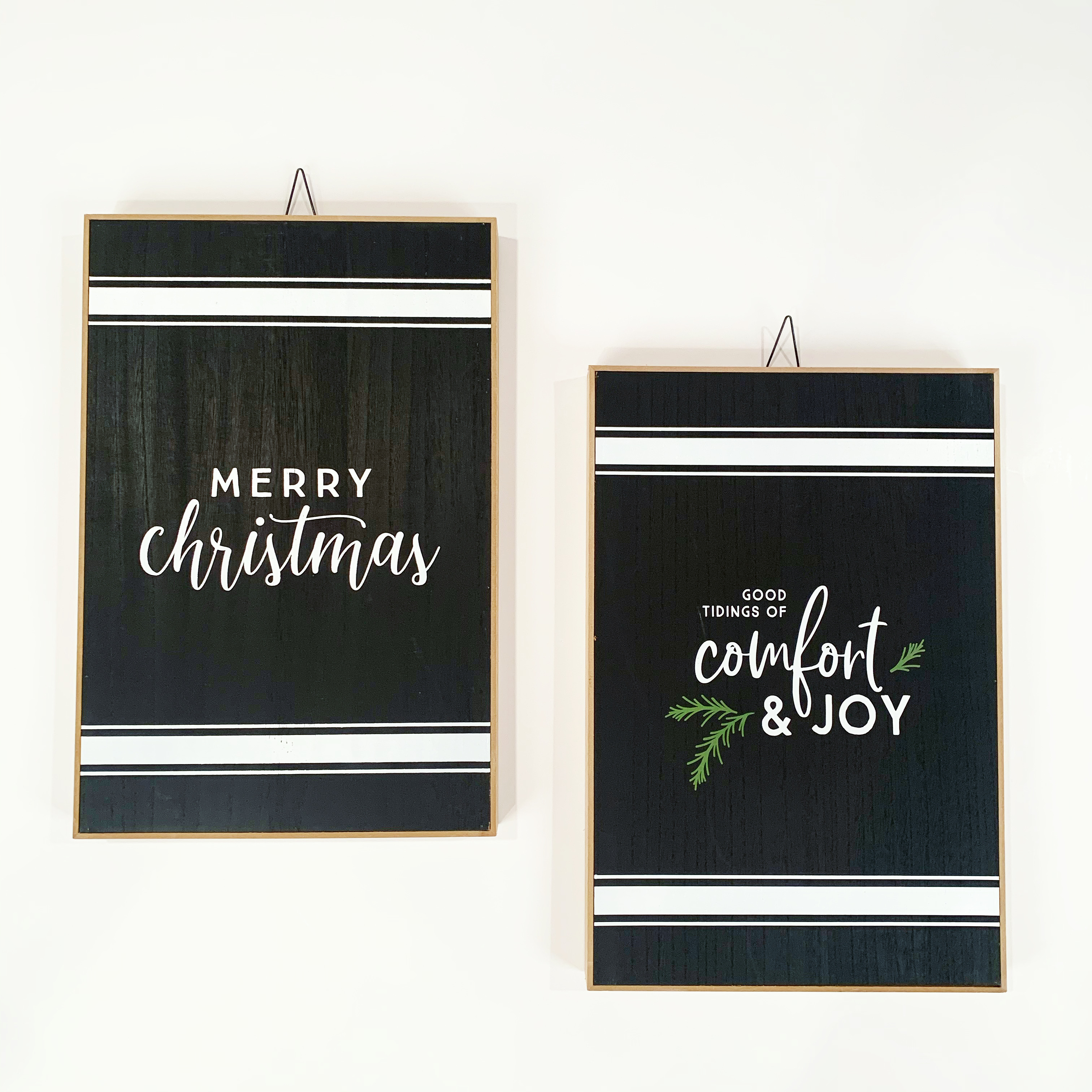 black and white hanging christmas signs