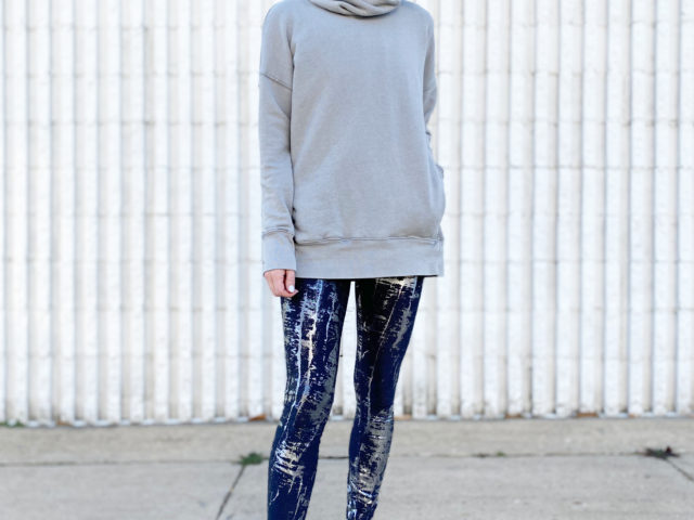 Avia Foil Print Legging and Asym Strap Athletic Shoe with Cowl Neck Tunic