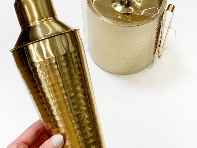 Mainstays Hammered Brass Cocktail Shaker and Ice Bucket