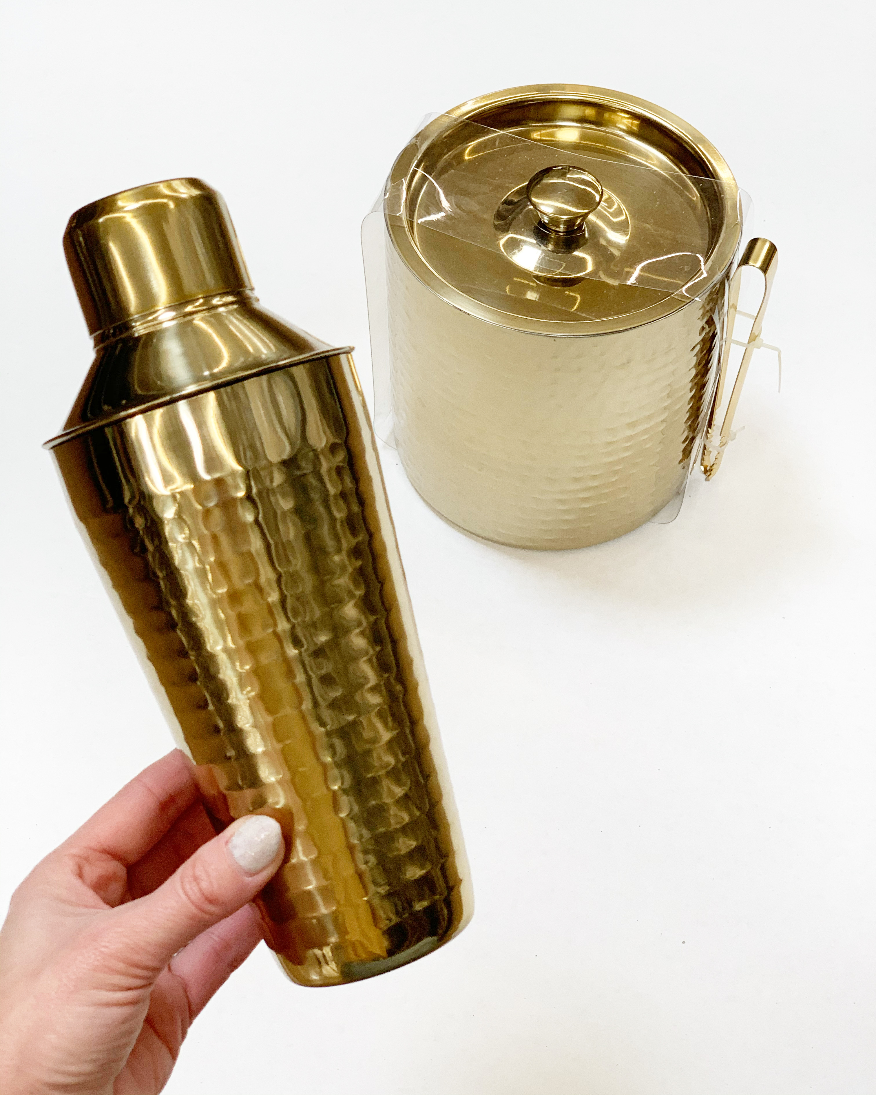 hammered brass cocktail shaker and ice bucket