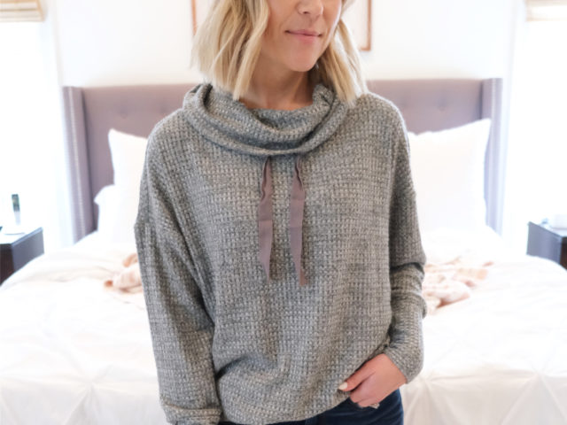 Time and Tru Brushed Waffle Knit Cowl Neck Top