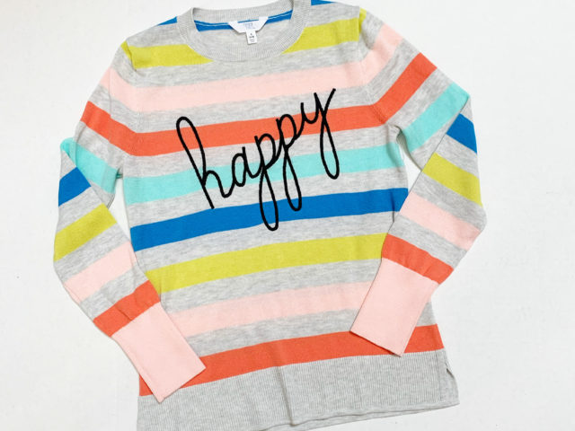 "Time and Tru ""Happy"" Sweater"