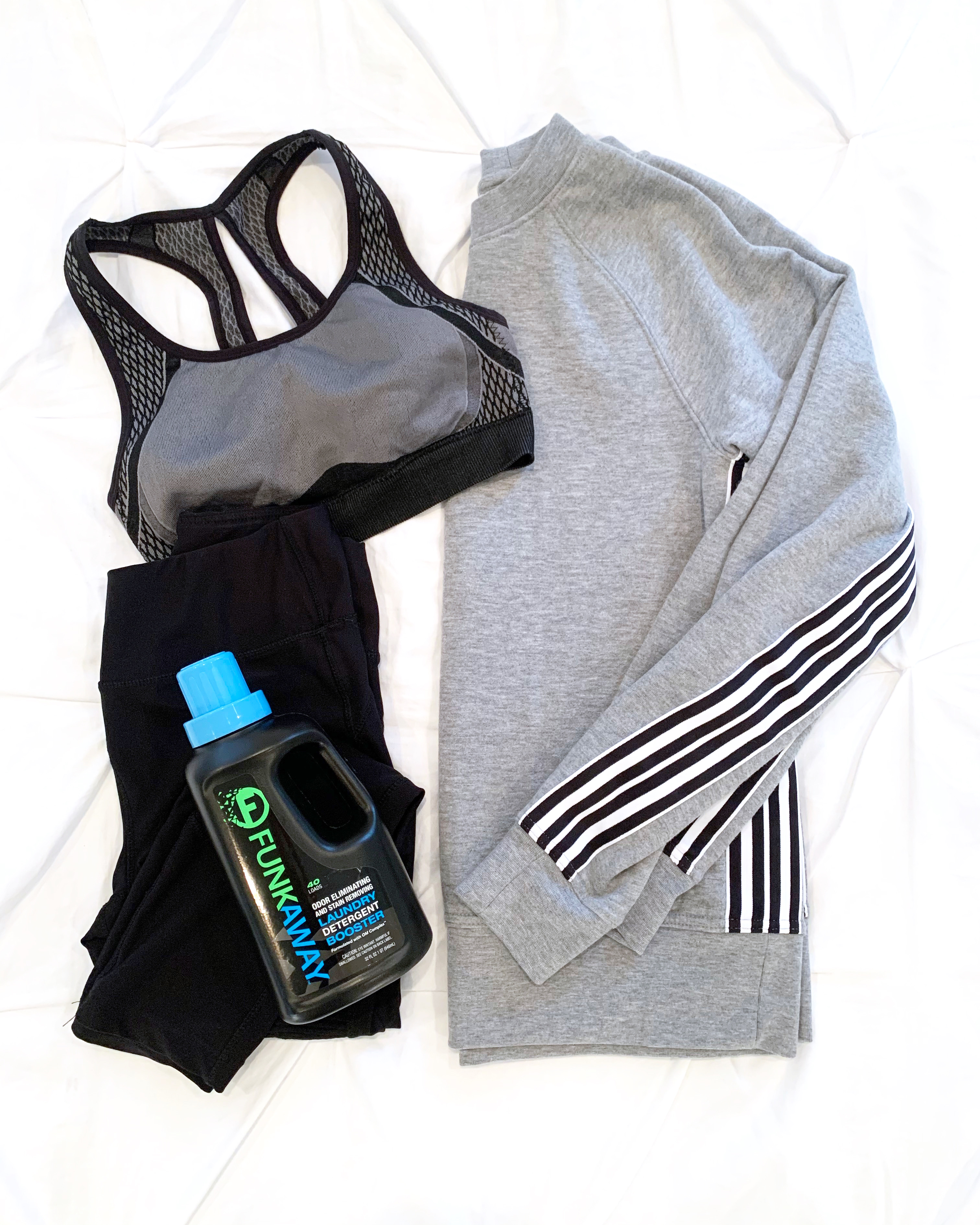 funkaway laundry booster with workout clothes