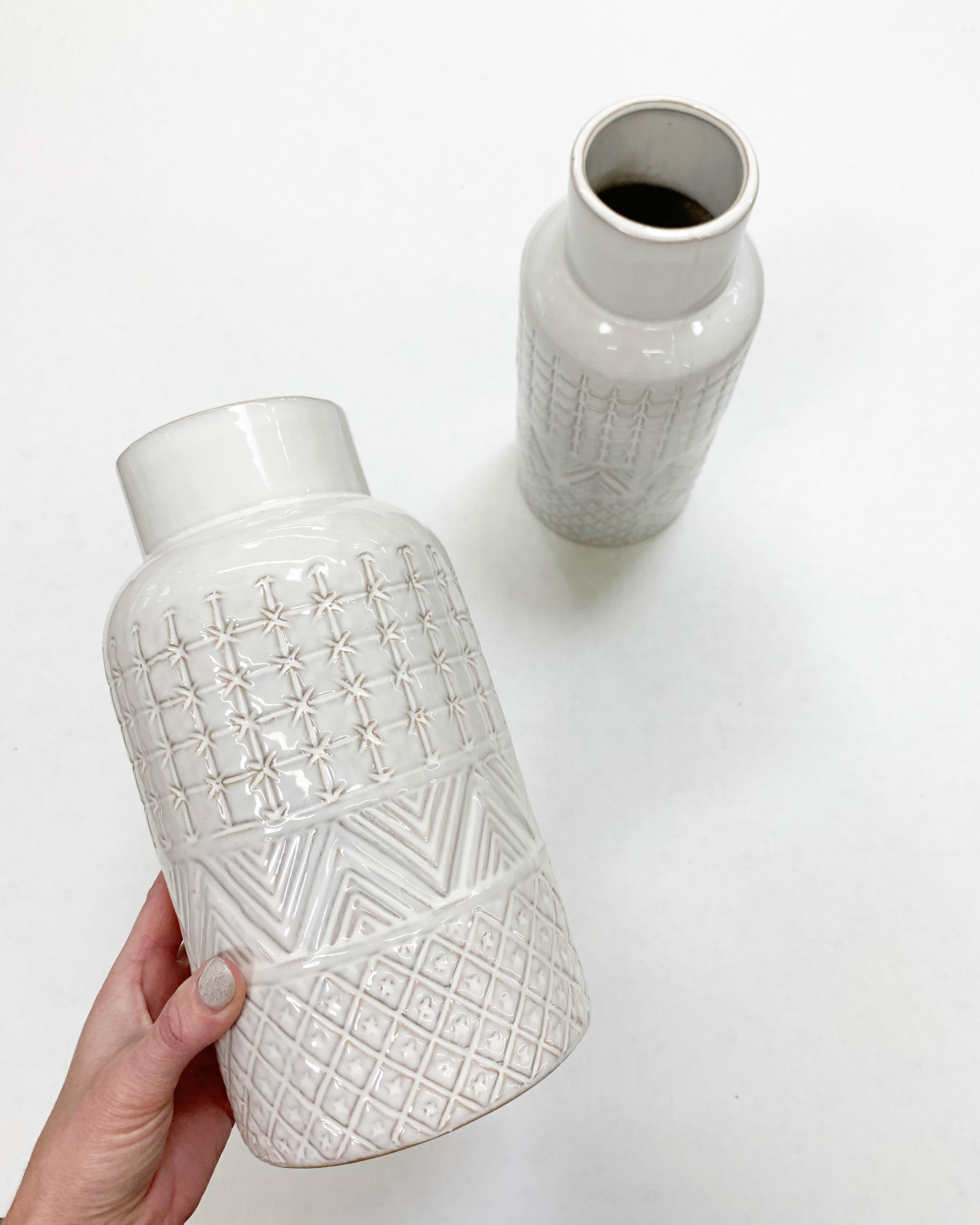 cream textured ceramic vase