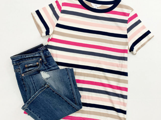 Time and Tru Striped Tee and Boyfriend Jean