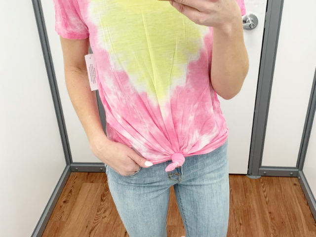 No Boundaries Tie Dye Tee and Time and Tru High Rise Button Skinny Jeans