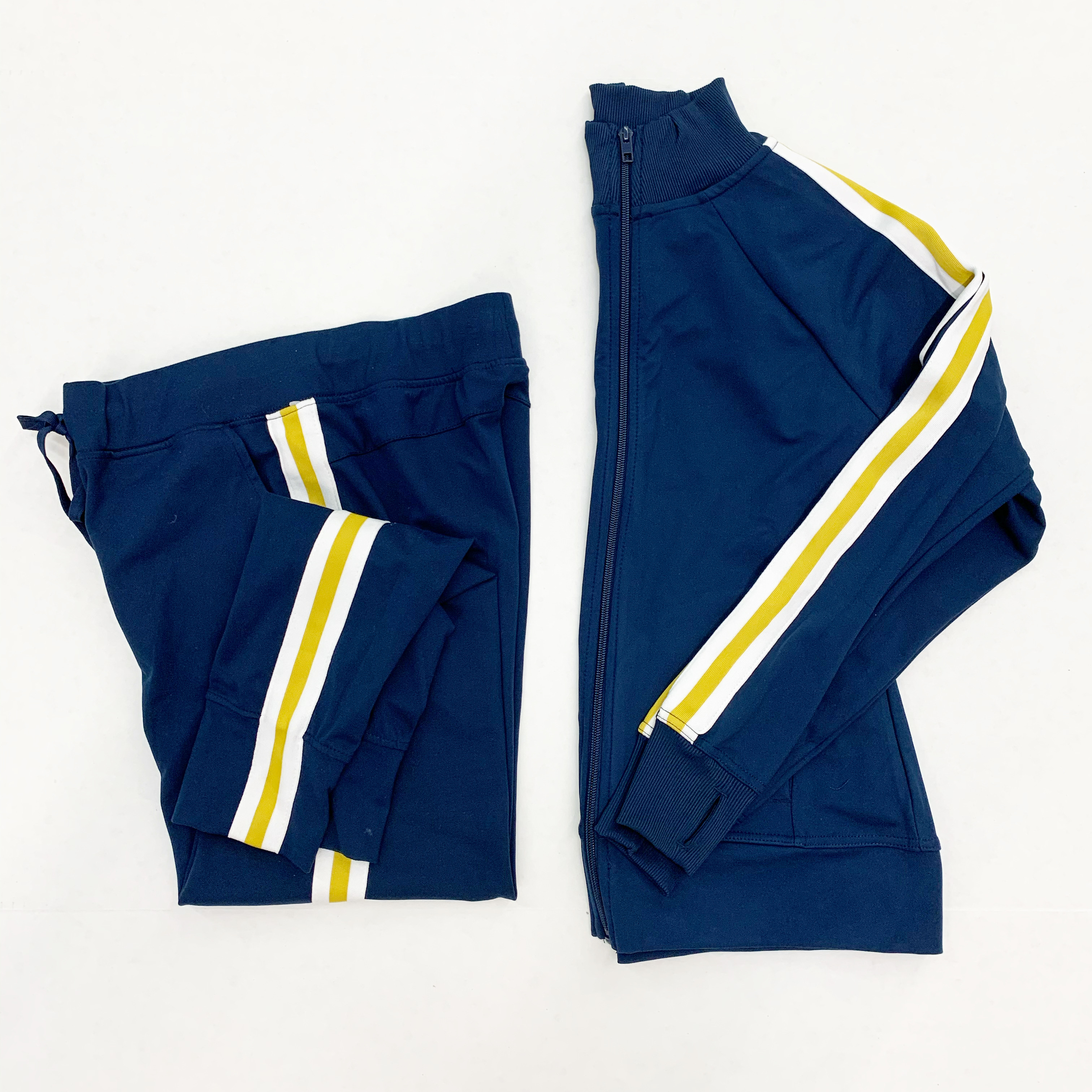 blue and gold track suit